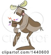 Cartoon Moose Grabbing His Hurt Leg
