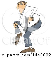 Clipart Of A Cartoon White Man Shooting Himself In The Foot Royalty Free Vector Illustration