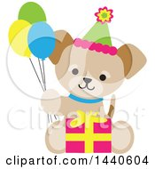 Cute Birthday Puppy Dog Holding Party Balloons And Sitting With A Gift