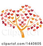 Clipart Of A Tree With An Orange Trunk And Autumn Colored Hearts Royalty Free Vector Illustration