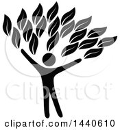 Clipart Of A Black Silhouetted Person Forming The Trunk Of A Tree Royalty Free Vector Illustration