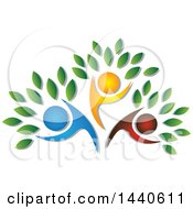 Clipart Of A Blue Red And Orange Family Forming The Trunk Of A Tree Royalty Free Vector Illustration