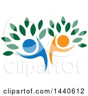 Clipart Of A Blue And Orange Couple Forming The Trunk Of A Tree Royalty Free Vector Illustration