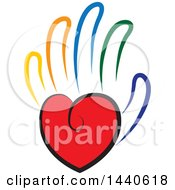 Clipart Of A Love Heart As The Palm Of A Hand With Colorful Fingers Royalty Free Vector Illustration