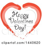Clipart Of A Love Heart With Happy Valentines Day Text Royalty Free Vector Illustration