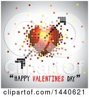 Clipart Of A Love Heart With Cupids Arrow And Happy Valentines Day Text On Gray Royalty Free Vector Illustration