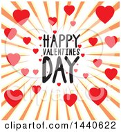 Clipart Of A Happy Valentines Day Greeting In A Heart Burst Royalty Free Vector Illustration