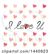 Poster, Art Print Of I Love U Text With Hearts