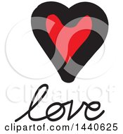 Clipart Of A Love Heart With Text Royalty Free Vector Illustration