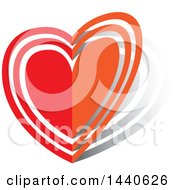 Clipart Of A Folding Love Heart Royalty Free Vector Illustration