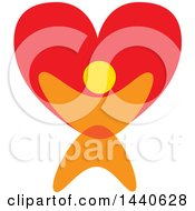 Clipart Of A Person Holding Up A Love Heart Royalty Free Vector Illustration