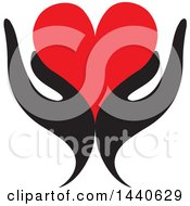 Clipart Of A Pair Of Black Hands Holding A Red Love Heart Royalty Free Vector Illustration