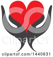 Poster, Art Print Of Pair Of Gray Hands Holding A Red Love Heart
