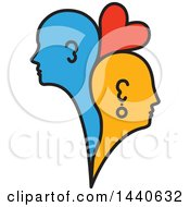 Clipart Of Blue And Orange Profiled Heads Of A Couple With A Heart Royalty Free Vector Illustration