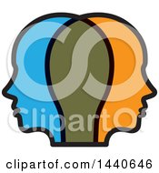 Clipart Of Profiled Heads Royalty Free Vector Illustration