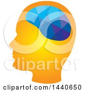 Clipart Of A Profiled Head With A Geometric Brain Royalty Free Vector Illustration
