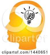 Clipart Of A Profiled Head With An Idea Royalty Free Vector Illustration
