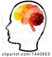 Clipart Of A Profiled Head With A Gear Brain Royalty Free Vector Illustration by ColorMagic