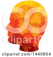Clipart Of A Profiled Head With Gears Royalty Free Vector Illustration