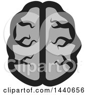 Clipart Of A Grayscale Brain Royalty Free Vector Illustration by ColorMagic