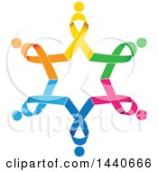 Clipart Of A Colorful Awareness Ribbon People Circle Royalty Free Vector Illustration