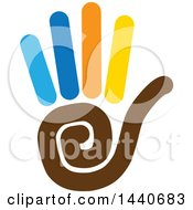 Clipart Of A Hand Holding Five Fingers Royalty Free Vector Illustration
