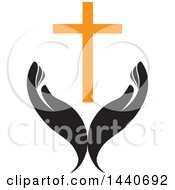 Clipart Of A Pair Of Hands With A Cross Royalty Free Vector Illustration