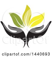 Clipart Of A Black Pair Of Hands With Green Leaves Royalty Free Vector Illustration