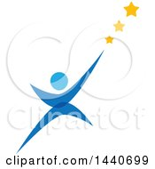 Clipart Of A Blue Person Reaching For The Stars Royalty Free Vector Illustration