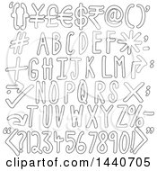 Clipart Of Outlined Alphabet Designs Royalty Free Vector Illustration