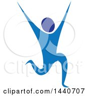 Clipart Of A Blue Person Running Dancing Or Cheering Royalty Free Vector Illustration