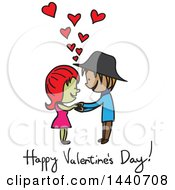 Clipart Of A Sketched Couple With Happy Valentines Day Text Royalty Free Vector Illustration