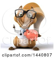 3d Doctor Or Veterinarian Squirrel On A White Background