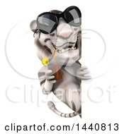 Poster, Art Print Of 3d White Tiger On A White Background