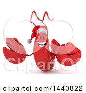 3d Christmas Lobster On A White Background