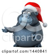 3d Christmas Gorilla Mascot On A White Background