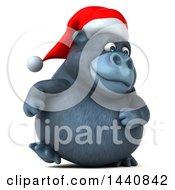 3d Christmas Gorilla Mascot On A White Background