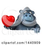 Poster, Art Print Of 3d Gorilla Mascot On A White Background