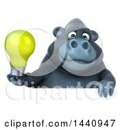 Poster, Art Print Of 3d Gorilla Mascot On A White Background