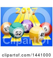 3d Golden New Year 2017 Numbers Over Stripes And Bingo Or Lottery Balls On Blue