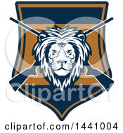 Clipart Of A Male Lion Head And Crossed Hunting Rifles In A Shield Royalty Free Vector Illustration by Seamartini Graphics