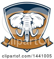 Clipart Of A Big Game Elephant Safari Hunting Shield With A Banner Royalty Free Vector Illustration by Vector Tradition SM