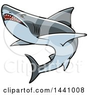 Clipart Of A Swimming Aggressive Shark Royalty Free Vector Illustration