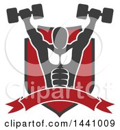 Clipart Of A Silhouetted Strong Male Bodybuilder Working Out And Doing Shoulder Presses With Dumbbells In A Shield With A Banner Royalty Free Vector Illustration by Vector Tradition SM
