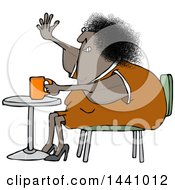 Cartoon Chubby Black Woman Sitting With Coffee At A Table And Waving With A Flabby Arm