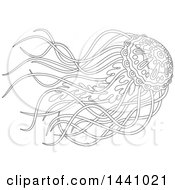 Clipart Of A Cartoon Black And White Lineart Beautiful Jellyfish Royalty Free Vector Illustration by Alex Bannykh