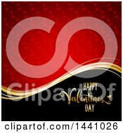 Gold Wave And Happy Valentines Day Greeting On Black With A Red Heart Pattern