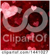 Grungy Red Valentine Heart Background