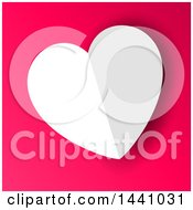 Folded White Paper Heart Valentine On Pink