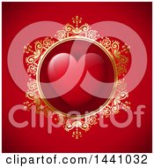 Clipart Of A Love Heart In An Ornate Circular Frame On Red Royalty Free Vector Illustration
